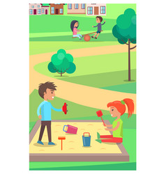children playing with toys in sandbox in park vector image vector image