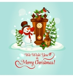 Christmas holiday poster with snowman and clock vector image vector image