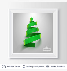 christmas tree shape of green ribbon in a frame vector image vector image