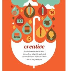 Creative umbrella - idea and design concept vector