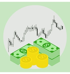Dollars on forex stock chart background vector