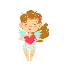 Girl baby cupid holding a heart winged toddler in vector