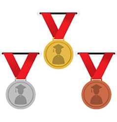 Gold Silver And Bronze Medals Education Concept vector image