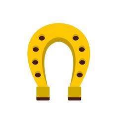 golden horseshoe icon flat style vector image