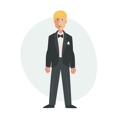 Groom flat isolated vector