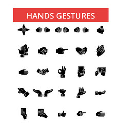 hands gestures thin line icons vector image vector image