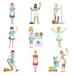 Hotel professional maids with cleaning equipment vector