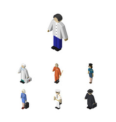 Isometric people set of seaman detective hostess vector