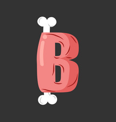 Letter b meat font pork and bone alphabet sign vector