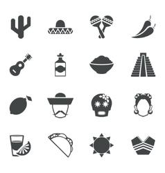 Mexico black icons set vector