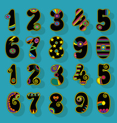 numbers set black signs with colorful decor vector image vector image