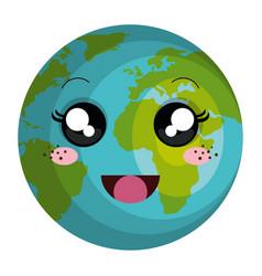 planet earth kawaii character vector image