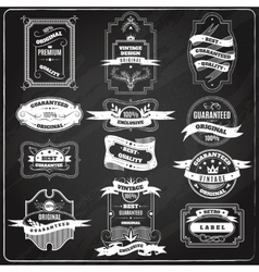 Retro emblems set chalk blackboard vector image
