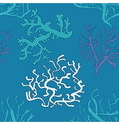 seamless blue pattern with coral vector image
