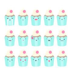 Set of cupcake emoji vector