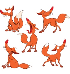 Set of funny red foxes cartoon vector