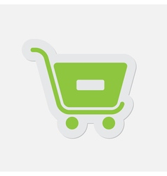 Simple green icon - shopping cart minus vector