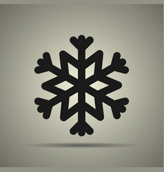 snowflake icon black and white vector image vector image