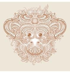 Tattoo design head of the monkey vector image