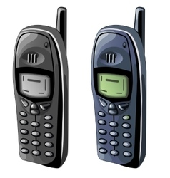 Two old cell phones with monochrome displays vector image vector image