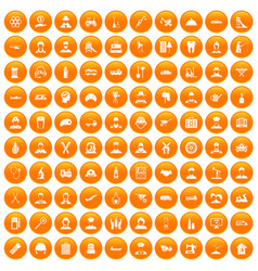 100 job icons set orange vector