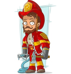 Cartoon bearded fireman with fire vector