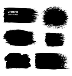 Set of black grunge paint ink brush strokes vector