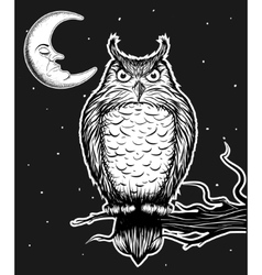 Owl is sitting on the tree vector