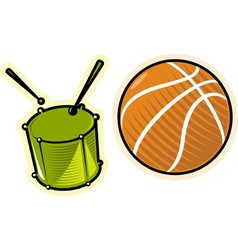 objects drum and ball vector image