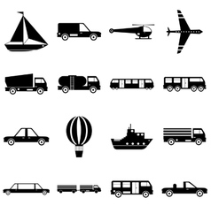 Transportation items icons set simple style vector