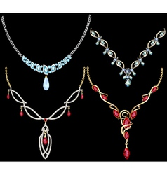 set of necklace women with precious stones vector image