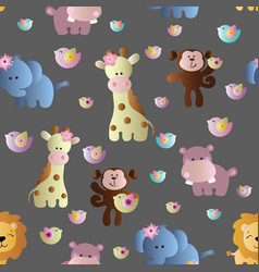 Seamless pattern with cute african animals vector