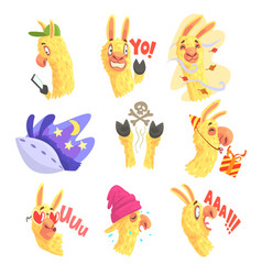 funny alpaca characters posing in different vector image
