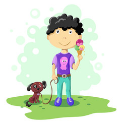Cartoon boy with dog vector