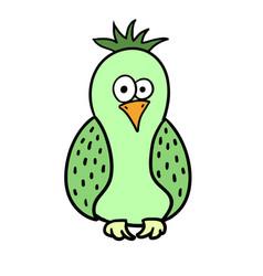 Cute cartoon green bird parrot vector