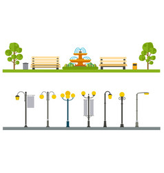 Urban outdoor decor elements parks and alleys vector
