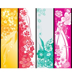 Summer flowers banners vector