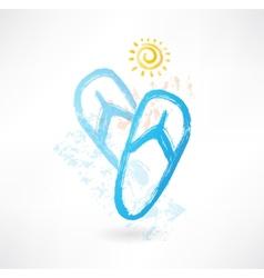 beach flip flops grunge icon vector image