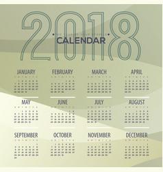 2018 modern abstract green printable calendar vector