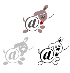 International sign email animals dog vector