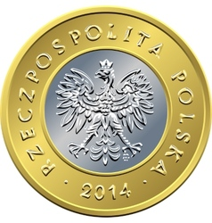 Obverse polish money two zloty coin vector