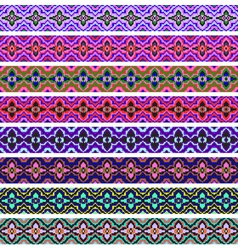 Set of ornamental strips of colored vector