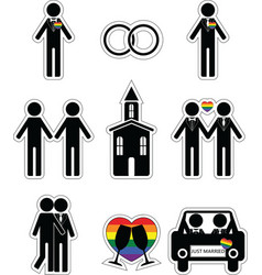 Gay man wedding 2 icons set with rainbow element vector