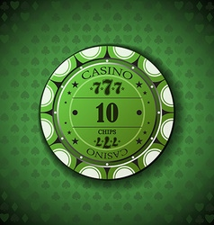 Poker chip nominal ten on card symbol background vector