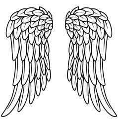 Cartoon angel wings vector image