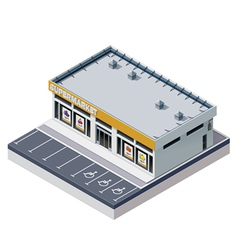 Isometric supermarket building vector