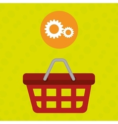 Red basket and gear isolated icon design vector