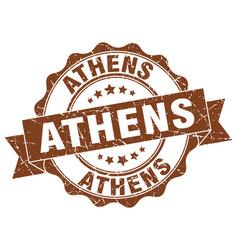Athens round ribbon seal vector
