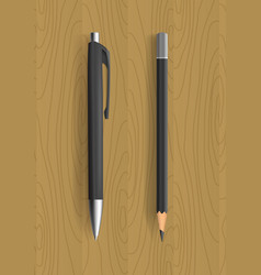 Black pencil and pen on wooden table vector