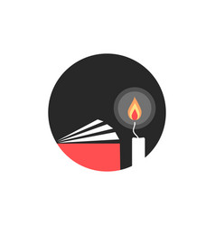 candle and book in black circle vector image vector image